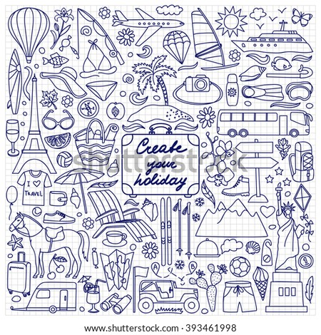 Create your Holiday. Vector illustration with hand drawn doodle summer and travel elements on squared paper
