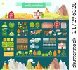 Create your own farm. Big set of design elements in modern flat style. Vector illustration - stock vector