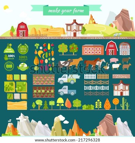 Farming infographic set animals equipment other stock for Build your own farmhouse
