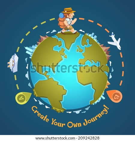 Create your own journey. Vector illustration. - stock vector