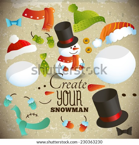 Create your snowman. Set of hand-drawn elements for collage snowman. Vector greeting card - stock vector