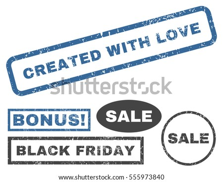 Created With Love rubber seal stamp watermark with additional design elements for Black Friday sales. Vector cobalt and gray emblems.