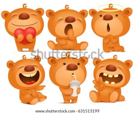 creation set teddy bear emoji characters stock vector royalty free
