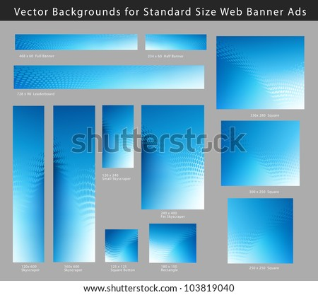 Creative, Abstract Blue Background Set for Standard Size Web Banner Ads - stock vector