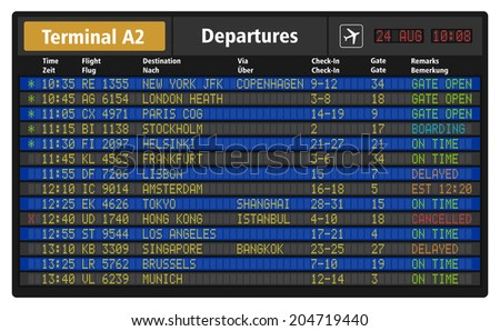 Creative abstract business travel and airline transportation concept: vector illustration of airport departure board with timetable of airliner flights