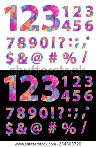 Creative, Abstract, EPS10 Vector, Colorful Numbers Set with Punctuation in Modern Mosaic and Polygonal Crystal Style, Isolated on White and Black Backgrounds - stock vector