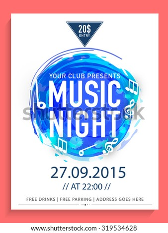 Creative abstract flyer, template or banner design with date and time details for Music Night. - stock vector