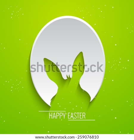 creative abstract for Easter with nice bunny stencil on egg with green colour background. - stock vector