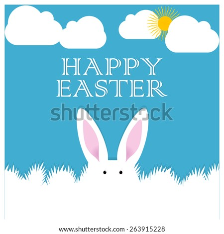 creative abstract for Happy easter with bunny in a nice blue colour cloudy background. - stock vector
