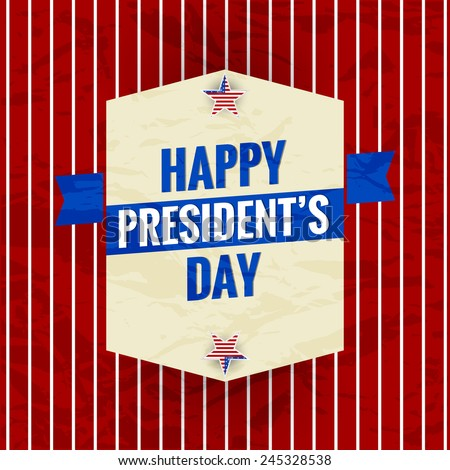 Creative Abstract for Happy President Day red and white stripe background - stock vector