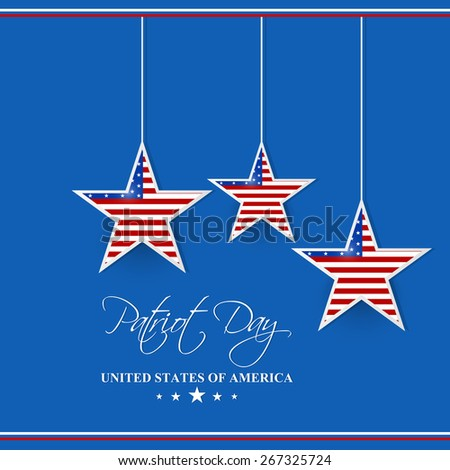 Creative abstract for Patriot Day with three star hanging in front of blue colour background. - stock vector