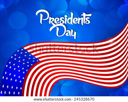 Creative Abstract for President Day with American flag with blue effect - stock vector