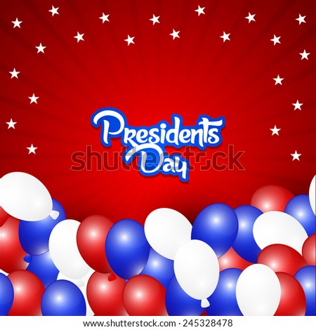 Creative Abstract for President Day with balloons and red background  - stock vector