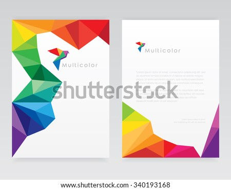 Creative abstract geometric multicolored letterhead template mockups with bird logo element - stock vector