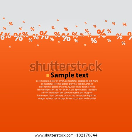 Creative abstract orange percent background. Vector illustration. - stock vector