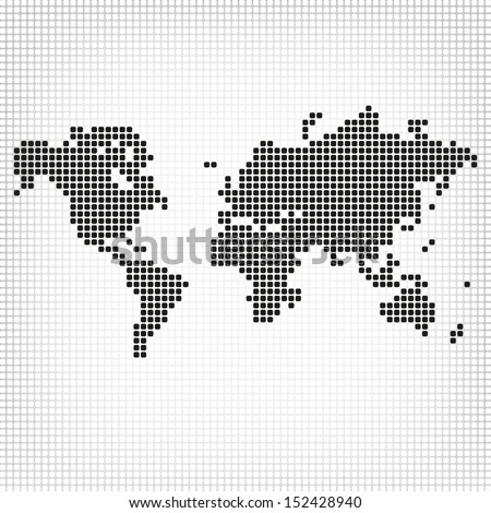 Creative abstract square shape formed world map. Showing global, worldwide, marketing, economy, international, corporate, communication, business idea - stock vector