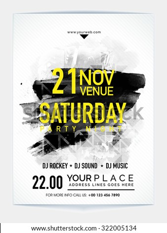 Creative abstract Template, Banner or Flyer design with date and time details for Saturday Party Night celebration. - stock vector