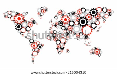 Creative Abstract Transparent Cog Wheels World Map vector illustration - stock vector