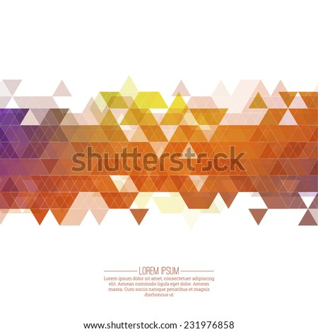 Creative abstract triangle pattern. Polygonal mosaic  background. Hipster cover colorful, vibrant. For packaging, fabric, websites, printing, booklet, flyer, banner, mobile app, annual report template - stock vector