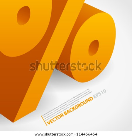 Creative abstract vector background with 3d percentage symbol and place for text. Image contains transparent lights and shadows. 10 EPS - stock vector
