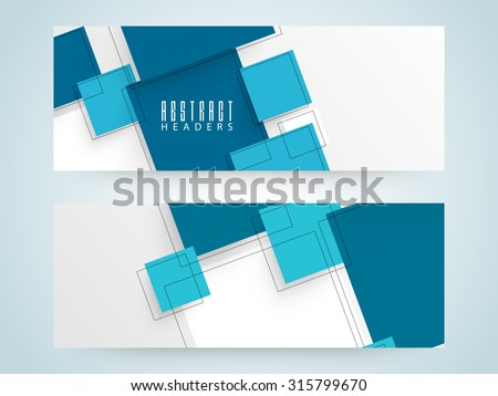 Creative Abstract website header or banner set in blue and white colors. - stock vector