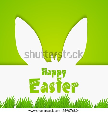 creative abstract with bunny ears for happy Easter in a green coloured background. - stock vector