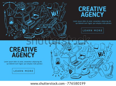 Line Drawing Vector Graphics : Creative agency website banner design artistic stock vector