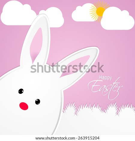 creative and beautiful abstract for Happy Easter with nice and creative Bunny in a pink colour cloudy background.  - stock vector