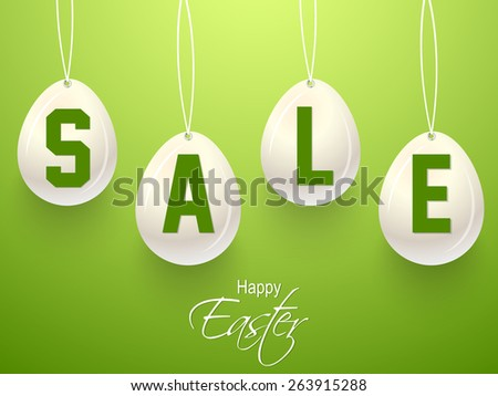 Creative and beautiful Abstract of Sale for Happy Easter with nice and beautiful green colour background.  - stock vector