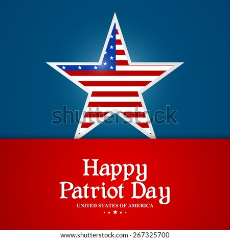 Creative and beautiful star with USA flag with red and blue colour background for Patriot Day. - stock vector