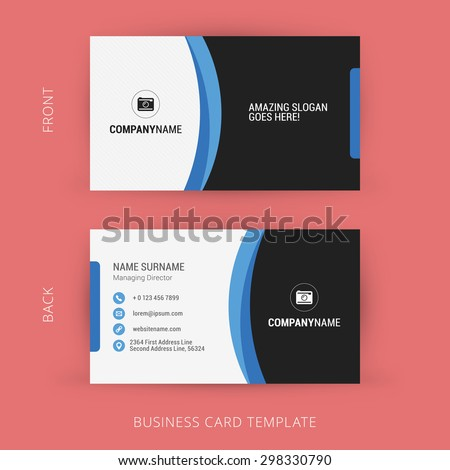 Creative and Clean Business Card Template. Black and Blue Colors - stock vector