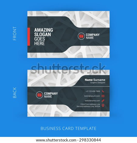 Creative and Clean Business Card Template with Abstract Light Background - stock vector