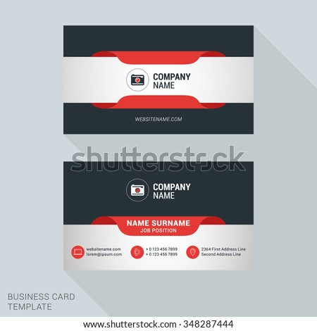 Creative and Clean Business Card Vector Print Template. Flat Style Vector Illustration. Stationery Design - stock vector