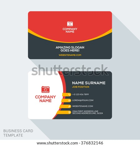 Creative clean corporate business card template stock vector hd creative and clean corporate business card template flat design vector illustration stationery design reheart Choice Image