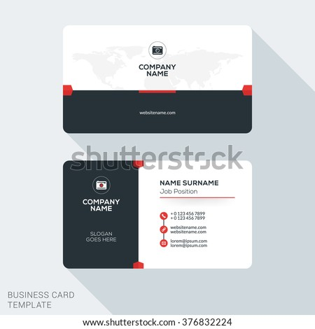 Creative and Clean Corporate Business Card Template. Flat Design Vector Illustration. Stationery Design - stock vector
