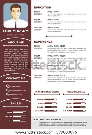 Creative Minimalistic Personal Resume Cv Template Stock Vector