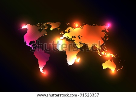 Creative and original vector with light map of the world. Perfect for your webdesign or website. Asia, Australia, America, Europe. - stock vector