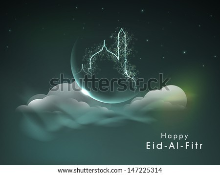 Creative background for Muslim community festival EiD Al Fitr (Eid Mubarak) with shiny mosque and moon.  - stock vector