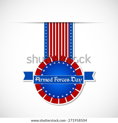 Creative Badge for Armed Force Day with nice US Theme in a white colour gradient background. - stock vector