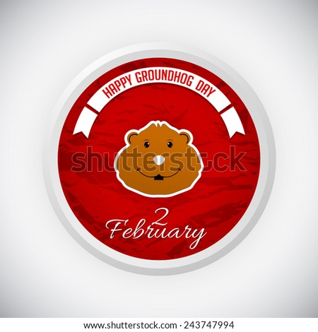 Creative badge for groundhog day - stock vector