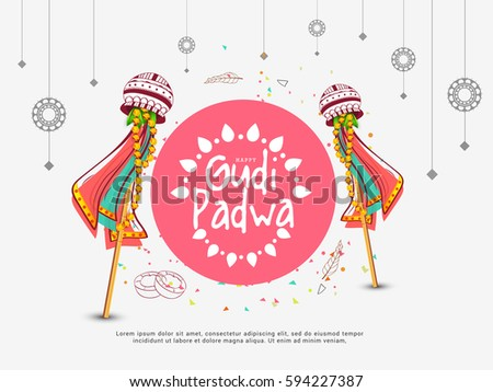 Creative Banner Or Poster of Occasion Gudi Padwa Celebration (Lunar New Year) Background.