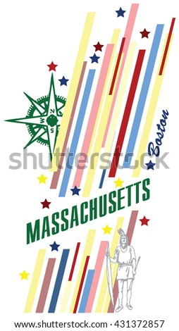 Creative banner with the symbol of the State of Massachusetts.