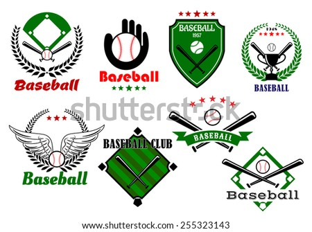 Creative baseball sports emblems and symbols with game elements as base, crossed bats, ball, cup, wings, people hand and ribbons