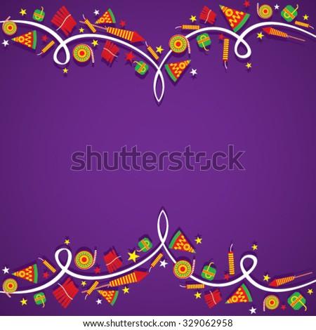 creative Big cracker banner border design , happy diwali vector - stock vector