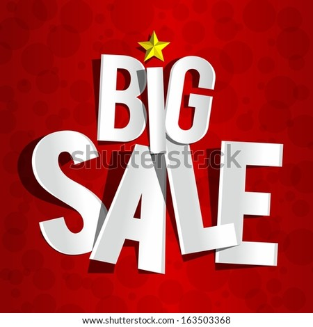 Creative Big Sale On Red Background vector illustration - stock vector