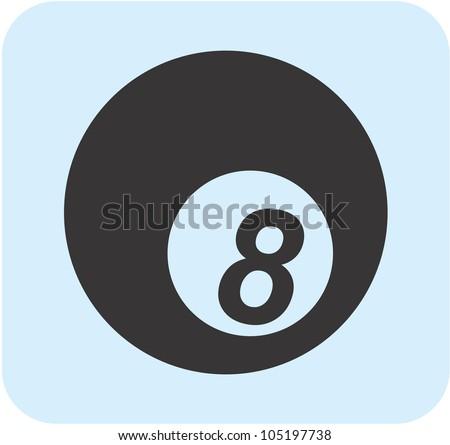 Creative Billiards Eight Ball Icon - stock vector