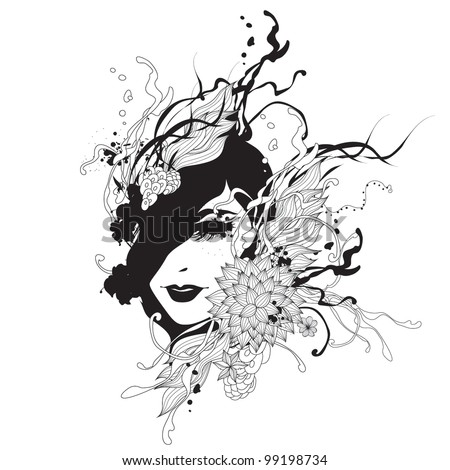 Creative black and white fashion vector illustration - stock vector