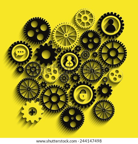 Creative black and yellow gears background. Eps10 vector for your design.