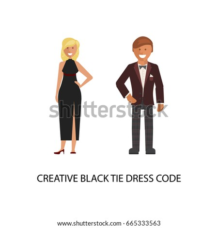 Creative Black Tie Dress Code Man Stock-Vektorgrafik 665333563 ...