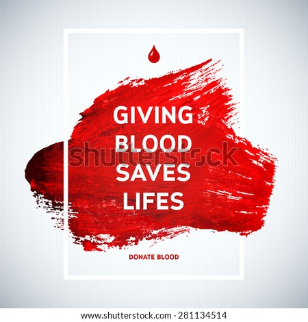 Creative Blood Donor Day motivation information donor poster. Blood Donation. World Blood Donor Day banner. Red stroke and text. Medical design elements. Grunge texture. - stock vector